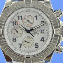Breitling Super Avenger gebraucht 48mm Silber Chronograph Datum Leder
