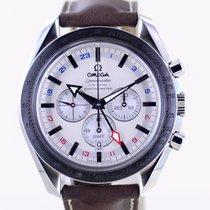 Omega Speedmaster Broad Arrow gebraucht 44.2mm Weiß Chronograph Datum GMT/Zweite Zeitzone Tachymeter Leder