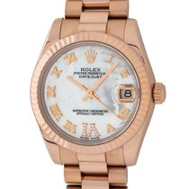 Rolex Rose gold Automatic Mother of pearl Roman numerals 31mm pre-owned Datejust
