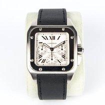 Cartier Santos 100 подержанные 55mm Белый Хронограф Дата Каучук