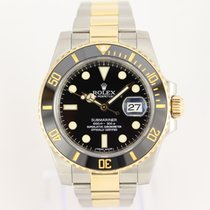 Rolex Submariner Date pre-owned 40mm Black Date Gold/Steel