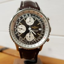 Breitling Old Navitimer pre-owned Black Chronograph Date Crocodile skin