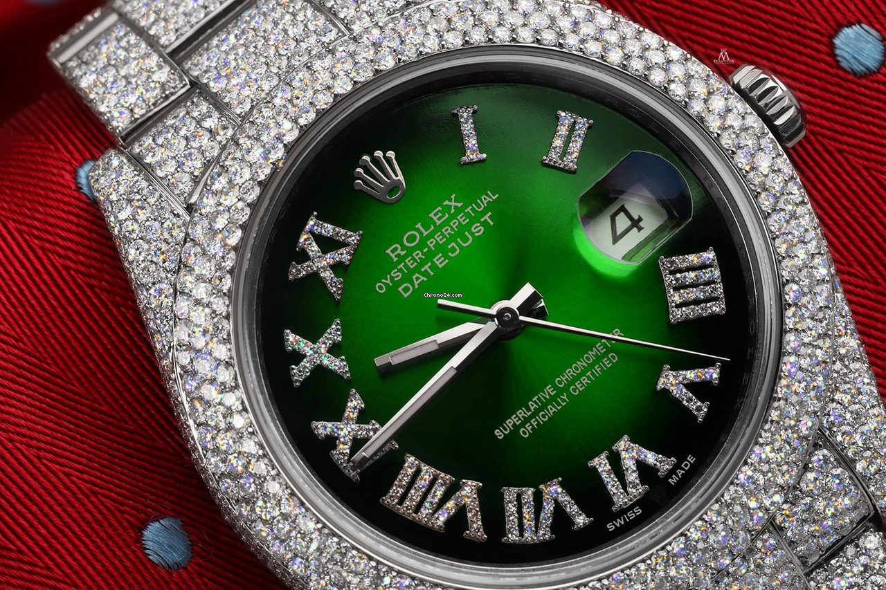 Rolex Datejust 2 Green Vignette Diamond Dial Iced Out Watch 116300