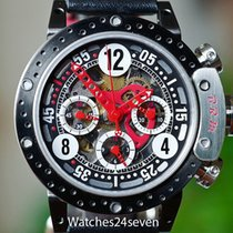 B.R.M Disc Brake Bezel Skeleton Chronograph Black Red 44mm,...