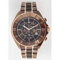 Cerruti 1881 Mens Chronograph Watch Brown Rose Gold Tone with...