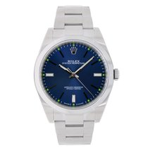 Rolex Oyster Perpetual No-Date 39mm Blue Dial Watch 114300