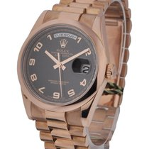 Rolex Used 118205blkarabicsmooth Mens Rose Gold Day Date...