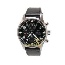 IWC Pilot Chronograph IW377709 IWC Aviatore Chrono Nero Acciaio con pelle 2019 new
