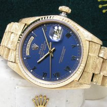 Rolex Men's Day-Date 36 Morellis President Blue Roman Dial Papers