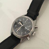 IWC Pilot Chronograph usato 39mm Nero Cronografo Data Indicatore dei giorni settimanali Pelle