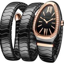 Bulgari Ceramic Quartz Black 35mm new Serpenti