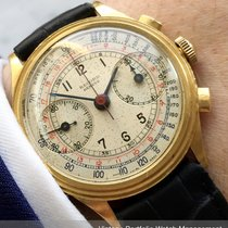 Wakmann Gelbgold 35mm Handaufzug RECORD CHRONOGRAPH MULTICOLOR STEPPED CASE gebraucht