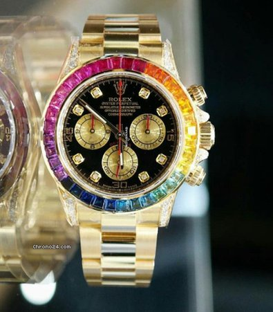 rolex daytona rainbow aftermarket diamonds watch for price on request for sale from a trusted. Black Bedroom Furniture Sets. Home Design Ideas