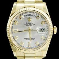 Rolex Day-Date 36 Zuto zlato 36mm Siv Bez brojeva