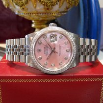 Rolex 36mm Datejust Pink Mother-of-pearl Diamond Bezel Oyster...