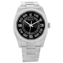 Rolex No Date Mens Black Concentric Dial Stainless Steel Watch...