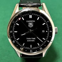 豪雅 (TAG Heuer) WV2115 Carrera Twin Time SS Black Dial with...
