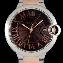 Cartier Ballon Bleu 42mm Gold/Steel 42mm Brown Roman numerals