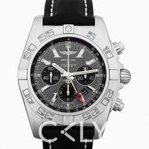百年靈 BREITLING Chronomat GMT Black Dial Black Leather Men's Watch