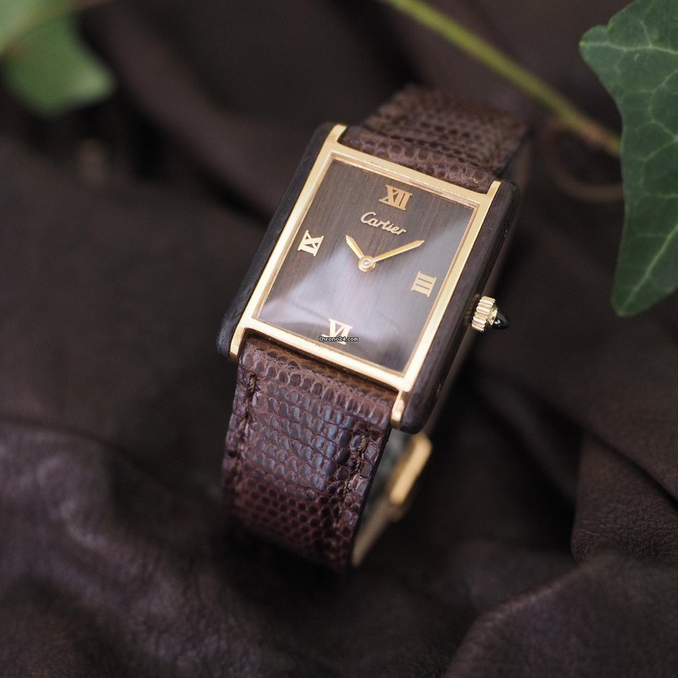 Cartier Tank Exotic Mahogany Wood Dial and Case for $4,381 for sale from a  Trusted Seller on Chrono24
