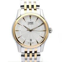 Oris Artelier Date pre-owned 40mm Silver Date Gold/Steel