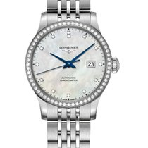 Longines Record Steel 30mm Mother of pearl