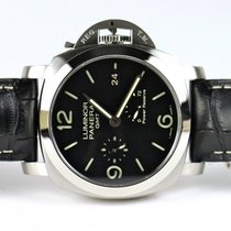 Panerai Luminor 1950 3 Days GMT Power Reserve Automatic pre-owned 44mm Black Date GMT Leather