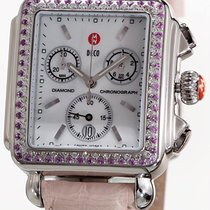 Michele Deco watch set with Pink Sapphires on leather strap