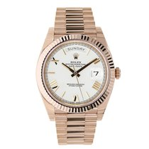 Rolex DAY-DATE 40 Rose Gold President White Roman Dial