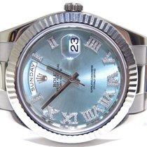 Rolex Day-Date II Witgoud 41mm Blauw