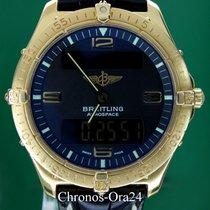 Breitling Gelbgold Quarz Schwarz 40mm gebraucht Aerospace