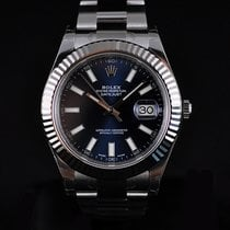 Rolex Datejust II 41MM Steel & 18K White Gold Bezel Blue