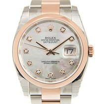 勞力士 Datejust 18k Rose Gold And Steel White Automatic 116201NGWT