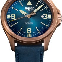 Traser Bronze 45mm Automatik P67 Officer Pro Automatic Bronze Blue, Lederband neu