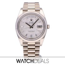 Rolex White gold Automatic Grey No numerals 40mm pre-owned Day-Date 40