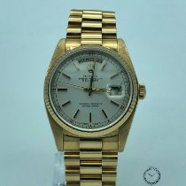 Rolex Day-Date 36 pre-owned 36mm Silver Date Weekday Yellow gold