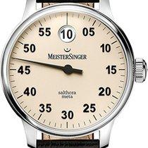 迈斯特辛格 Salthora Meta SAM903 - MEISTERSINGER  SINGLE HAND WATCH, BROWN STRAP 新的
