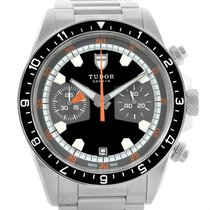 Tudor Heritage Chrono Black Grey Dial Mens Watch 70330n Box Card