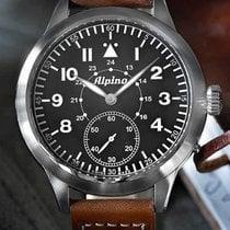 Alpina Startimer Pilot Heritage Steel 50mm Black Arabic numerals