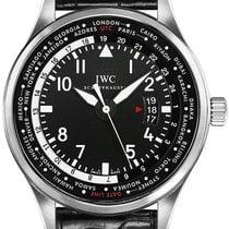 IWC Pilot Worldtimer Stal 45mm Czarny Arabskie