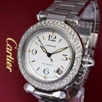 Cartier 35mm Pasha Diamond Bezel Stainless Steel Automatic 2324