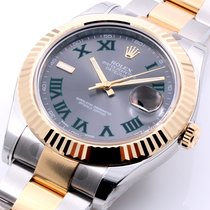 Rolex 18K/SS Datejust ll 41mm Slate Green Roman - Unworn