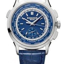 Patek Philippe World Time Chronograph Witgoud 39.5mm Blauw Geen cijfers
