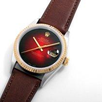 Rolex 18K/SS DATEJUST Red Vignette Dial 36mm Quickset 16013 model