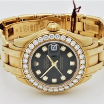 Rolex Ladies Date-Just Pearl Master 18Kt YG Black Dia Dial