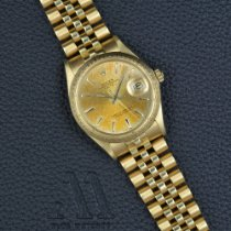 Rolex Yellow gold Automatic Champagne pre-owned Oyster Perpetual Date