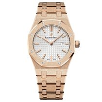 Audemars Piguet Royal Oak Lady Quartz Frosted Gold Silver Dial...