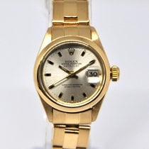 Rolex Oyster Perpetual Lady Date Yellow gold 26mm Silver No numerals