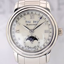 Blancpain Leman Mondphase Mother of Pearl Calender Steel Diamond