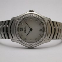Ebel #9090f24 Classic Wave Quartz Mop Diamond Dial Stainless...